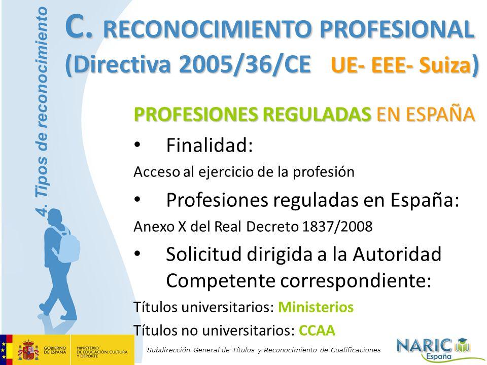 Subdirección General de Títulos y Reconocimiento de Cualificaciones PROFESIONES REGULADAS EN ESPAÑA Finalidad: Acceso al ejercicio de la profesión Pro