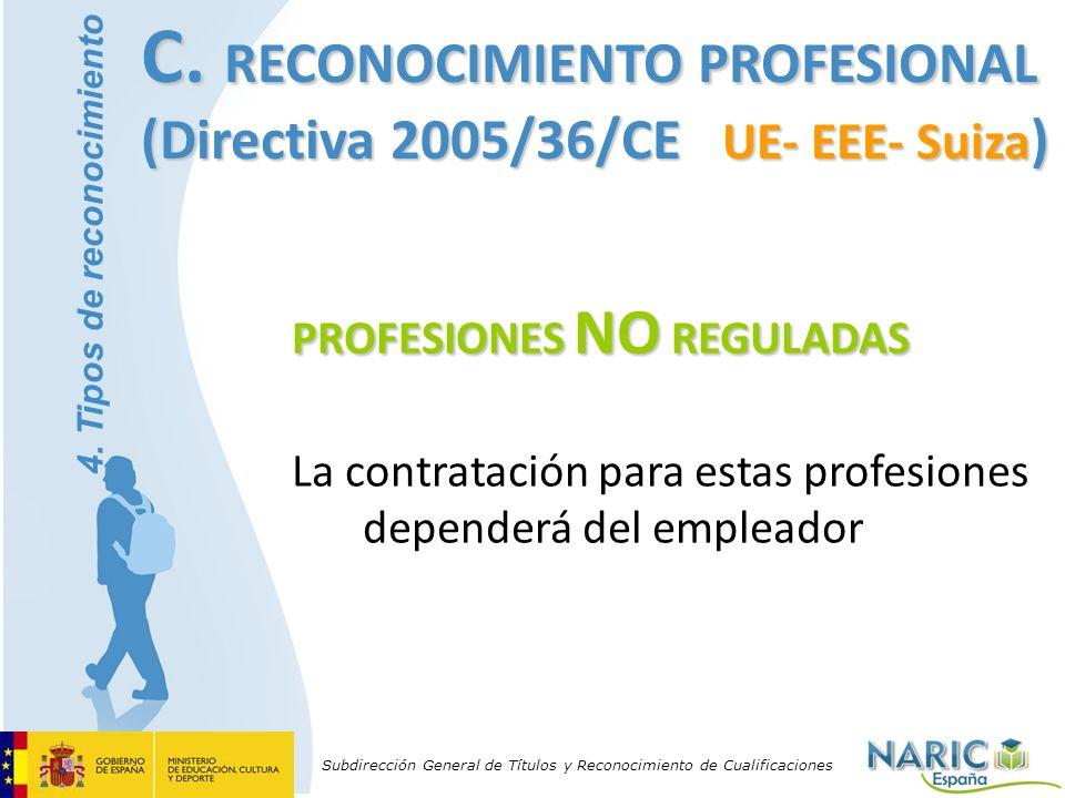Subdirección General de Títulos y Reconocimiento de Cualificaciones PROFESIONES NO REGULADAS La contratación para estas profesiones dependerá del empl