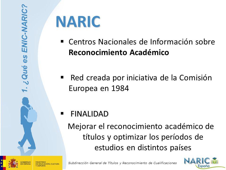 Subdirección General de Títulos y Reconocimiento de Cualificaciones NARIC Centros Nacionales de Información sobre Reconocimiento Académico Red creada