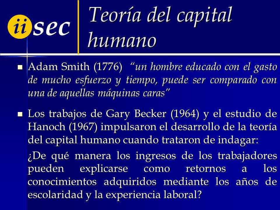 ii sec Teoría del capital humano Adam Smith (1776) un hombre educado con el gasto de mucho esfuerzo y tiempo, puede ser comparado con una de aquellas máquinas caras Adam Smith (1776) un hombre educado con el gasto de mucho esfuerzo y tiempo, puede ser comparado con una de aquellas máquinas caras Los trabajos de Gary Becker (1964) y el estudio de Hanoch (1967) impulsaron el desarrollo de la teoría del capital humano cuando trataron de indagar: Los trabajos de Gary Becker (1964) y el estudio de Hanoch (1967) impulsaron el desarrollo de la teoría del capital humano cuando trataron de indagar: ¿De qué manera los ingresos de los trabajadores pueden explicarse como retornos a los conocimientos adquiridos mediante los años de escolaridad y la experiencia laboral?