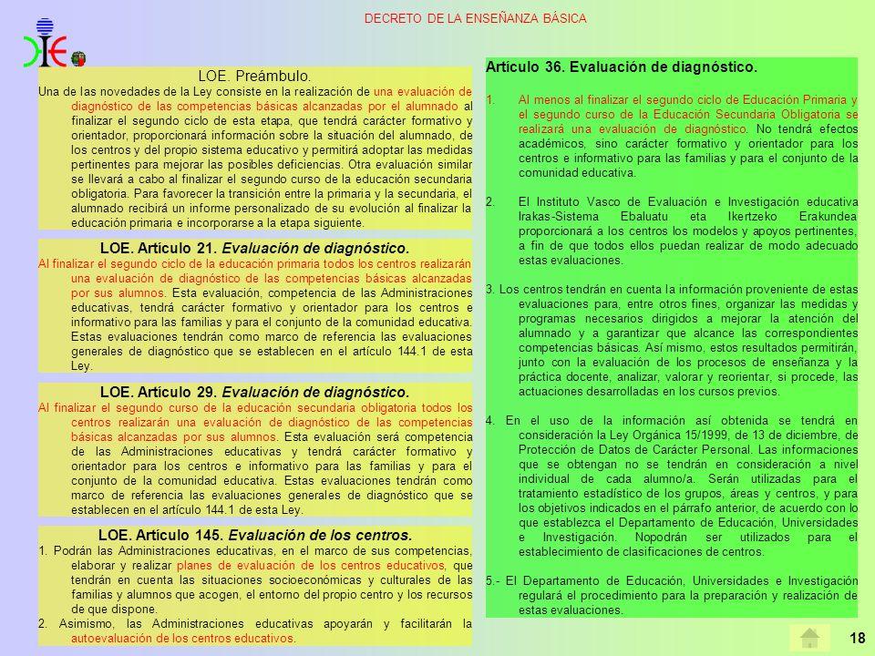 18 DECRETO DE LA ENSEÑANZA BÁSICA LOE. Artículo 21. Evaluación de diagnóstico. Al finalizar el segundo ciclo de la educación primaria todos los centro
