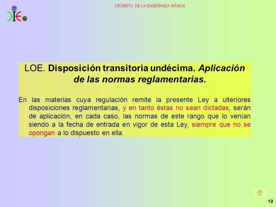 19 DECRETO DE LA ENSEÑANZA BÁSICA LOE. Disposición transitoria undécima. Aplicación de las normas reglamentarias. En las materias cuya regulación remi