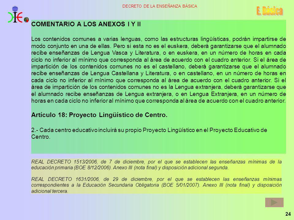 24 DECRETO DE LA ENSEÑANZA BÁSICA COMENTARIO A LOS ANEXOS I Y II Los contenidos comunes a varias lenguas, como las estructuras lingüísticas, podrán im