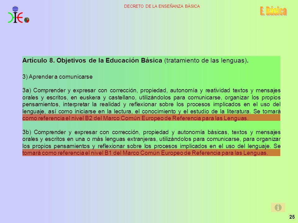 25 DECRETO DE LA ENSEÑANZA BÁSICA Artículo 8. Objetivos de la Educación Básica (tratamiento de las lenguas). 3) Aprender a comunicarse 3a) Comprender
