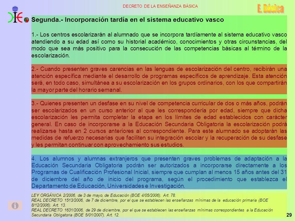29 DECRETO DE LA ENSEÑANZA BÁSICA Segunda.- Incorporación tardía en el sistema educativo vasco 1.- Los centros escolarizarán al alumnado que se incorp