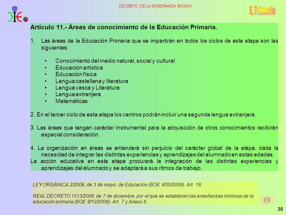 30 DECRETO DE LA ENSEÑANZA BÁSICA Artículo 11.- Áreas de conocimiento de la Educación Primaria. 1.Las áreas de la Educación Primaria que se impartirán