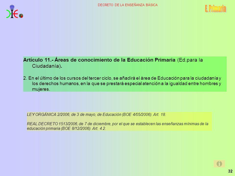 32 DECRETO DE LA ENSEÑANZA BÁSICA Artículo 11.- Áreas de conocimiento de la Educación Primaria (Ed.para la Ciudadanía). 2. En el último de los cursos