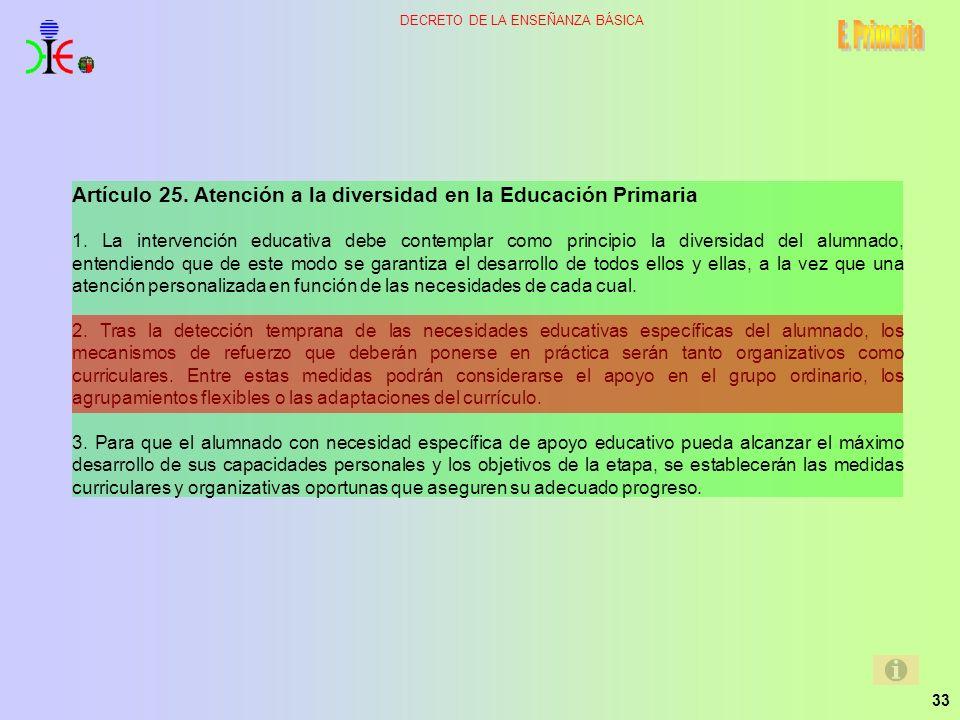 33 DECRETO DE LA ENSEÑANZA BÁSICA Artículo 25. Atención a la diversidad en la Educación Primaria 1. La intervención educativa debe contemplar como pri