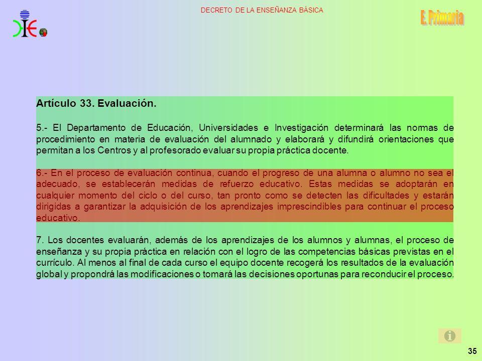 35 DECRETO DE LA ENSEÑANZA BÁSICA Artículo 33. Evaluación. 5.- El Departamento de Educación, Universidades e Investigación determinará las normas de p