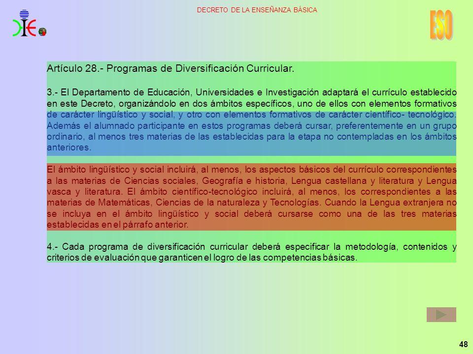 48 DECRETO DE LA ENSEÑANZA BÁSICA Artículo 28.- Programas de Diversificación Curricular. 3.- El Departamento de Educación, Universidades e Investigaci