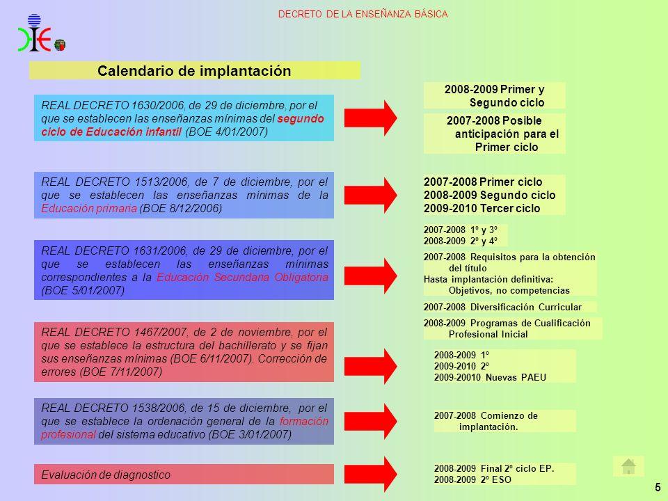 5 Calendario de implantación REAL DECRETO 1630/2006, de 29 de diciembre, por el que se establecen las enseñanzas mínimas del segundo ciclo de Educació