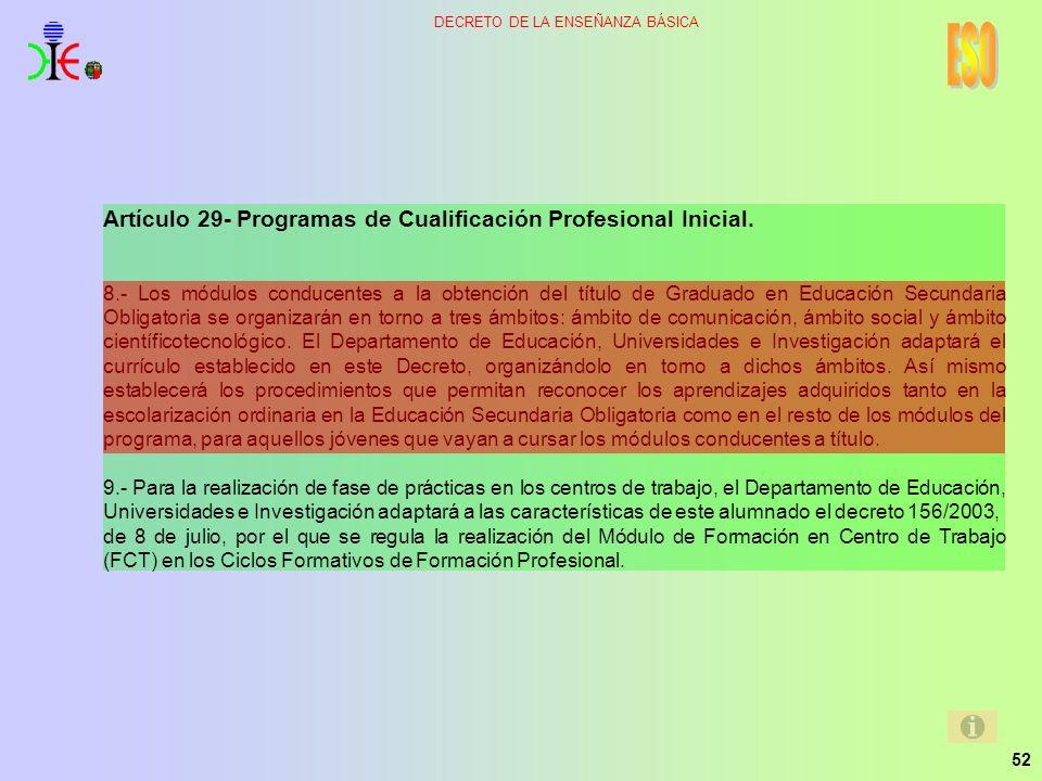 52 DECRETO DE LA ENSEÑANZA BÁSICA Artículo 29- Programas de Cualificación Profesional Inicial. 8.- Los módulos conducentes a la obtención del título d
