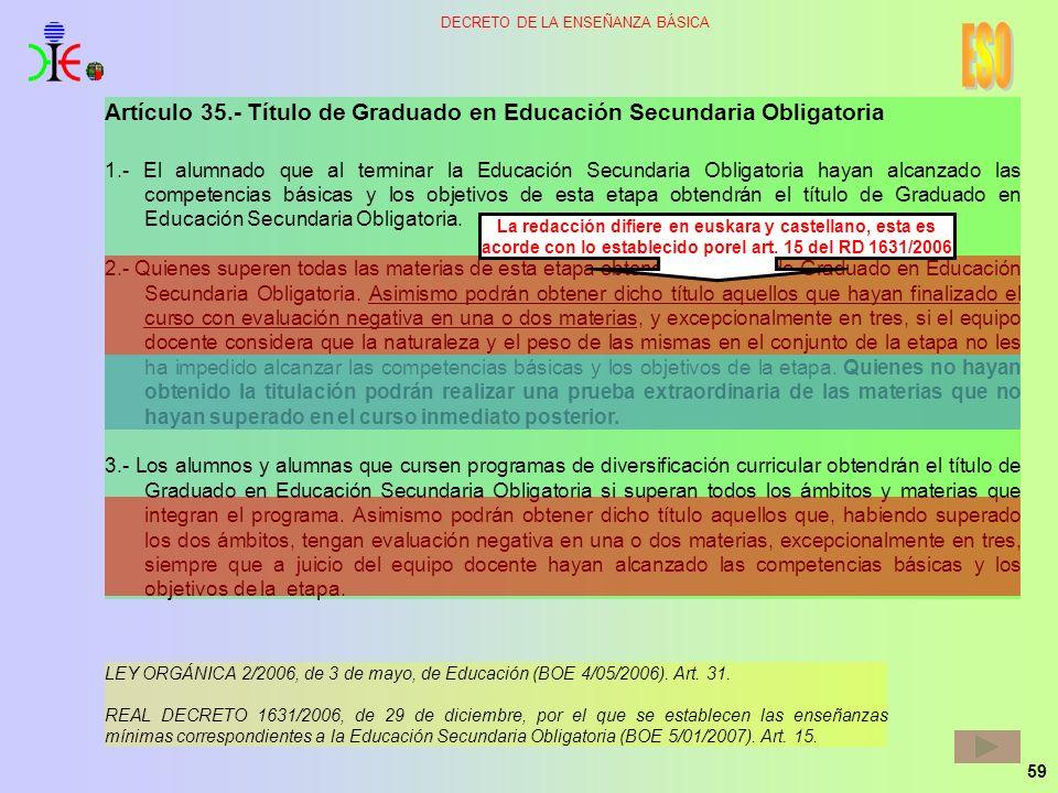 59 DECRETO DE LA ENSEÑANZA BÁSICA Artículo 35.- Título de Graduado en Educación Secundaria Obligatoria 1.- El alumnado que al terminar la Educación Se