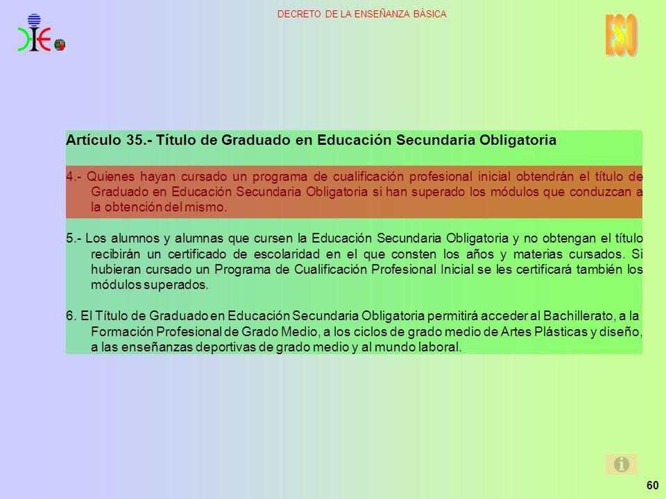 60 DECRETO DE LA ENSEÑANZA BÁSICA Artículo 35.- Título de Graduado en Educación Secundaria Obligatoria 4.- Quienes hayan cursado un programa de cualif