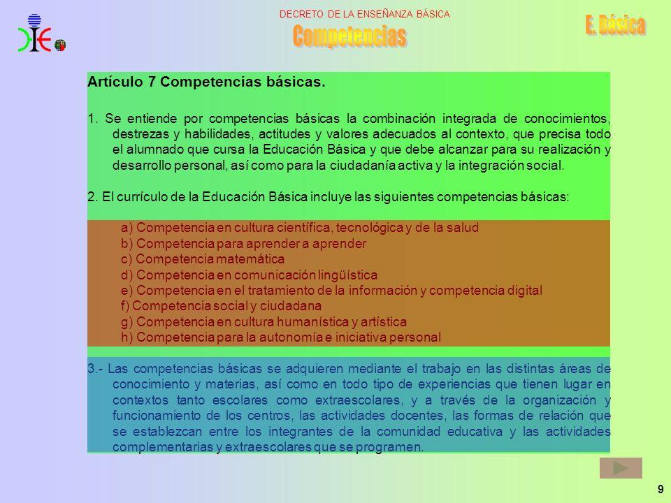 9 DECRETO DE LA ENSEÑANZA BÁSICA Artículo 7 Competencias básicas. 1. Se entiende por competencias básicas la combinación integrada de conocimientos, d