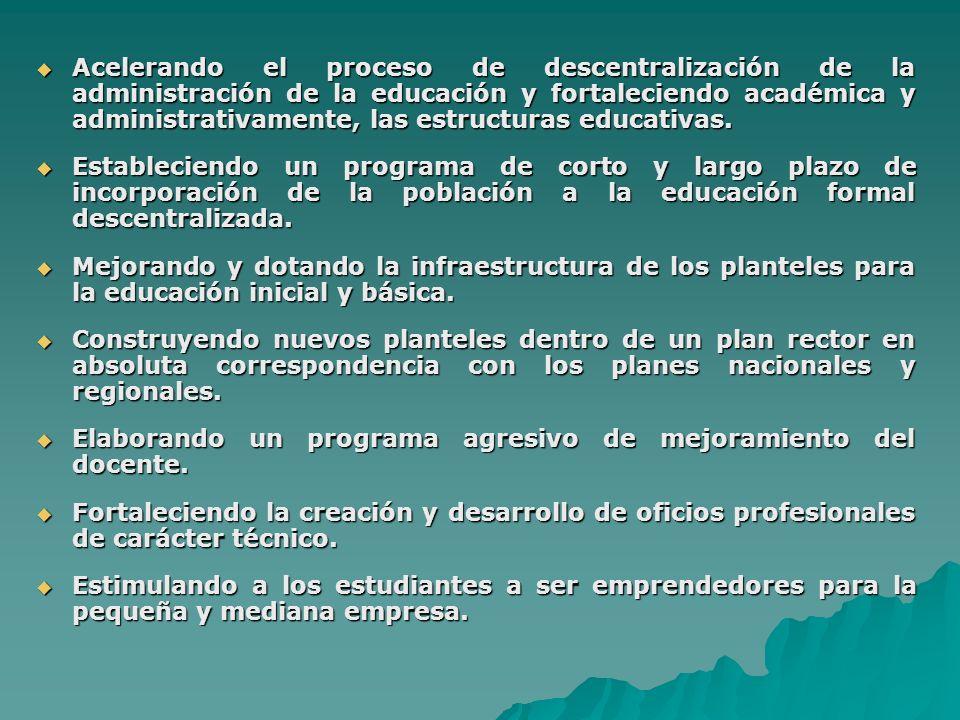 VENEZUELA RESPONDE A SUS RETOS EDUCATIVOS Iniciando un proceso de reconstrucción nacional que resuelva los problemas de: exclusión social y escolar, equidad e inversión significativa de recursos financieros dentro de un esquema de planificación coherente y de acciones de mejoramiento educativo.