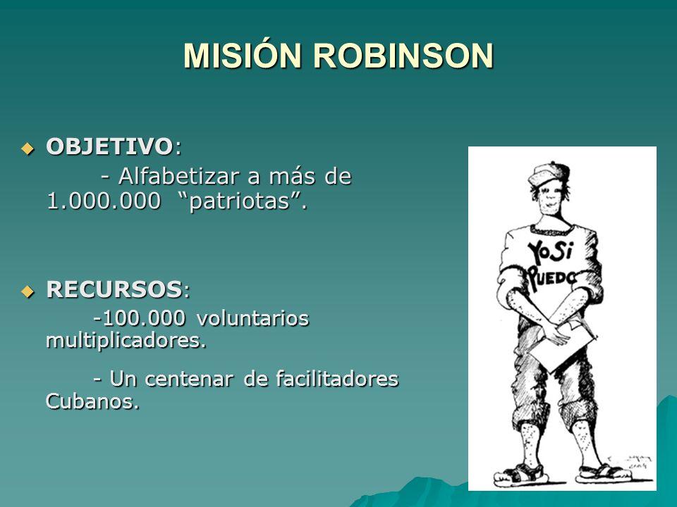 MISIÓN ROBINSON OBJETIVO: OBJETIVO: - Alfabetizar a más de 1.000.000 patriotas.