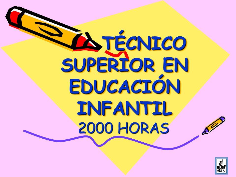 TÉCNICO SUPERIOR EN EDUCACIÓN INFANTIL TÉCNICO SUPERIOR EN EDUCACIÓN INFANTIL 2000 HORAS
