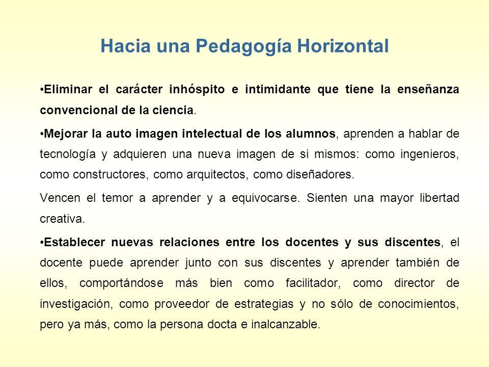 Hacia una Pedagogía Horizontal Eliminar el carácter inhóspito e intimidante que tiene la enseñanza convencional de la ciencia. Mejorar la auto imagen