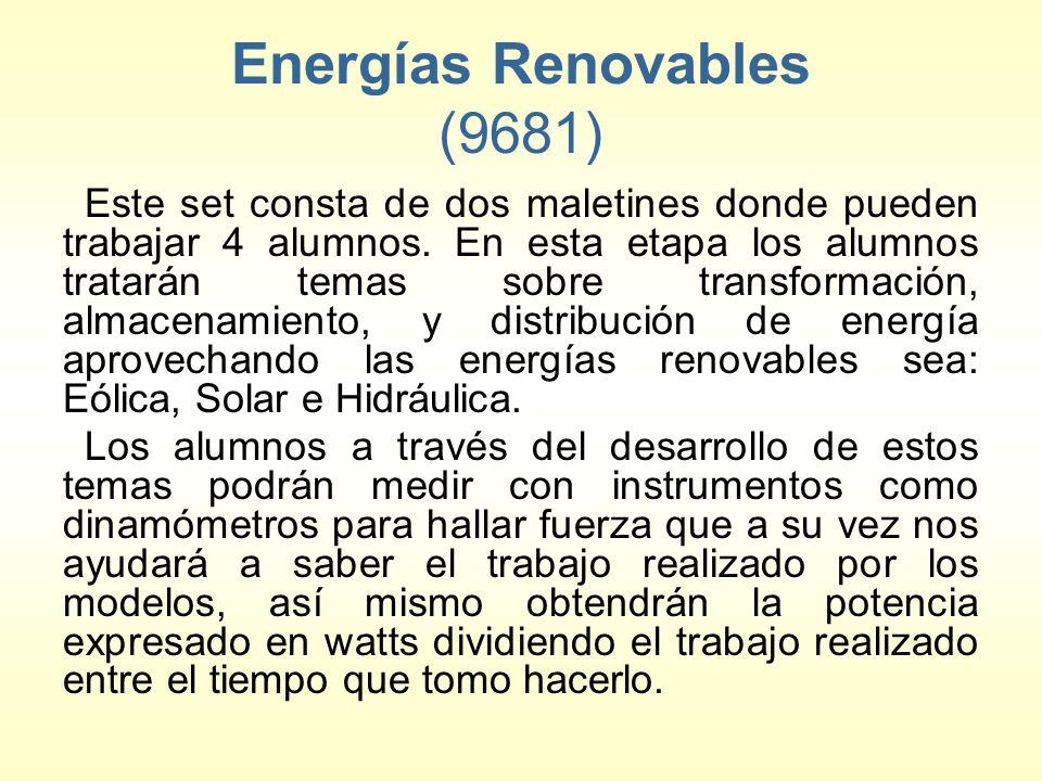 Energías Renovables (9681) Este set consta de dos maletines donde pueden trabajar 4 alumnos. En esta etapa los alumnos tratarán temas sobre transforma