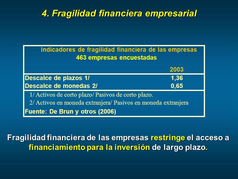 4. Fragilidad financiera empresarial Fragilidad financiera de las empresas restringe el acceso a financiamiento para la inversión de largo plazo. 2003