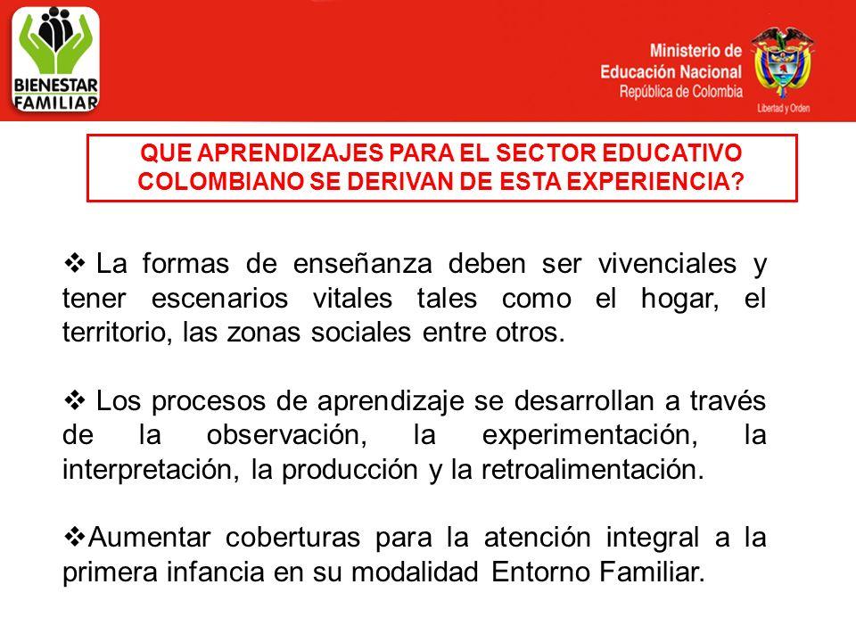 QUE APRENDIZAJES PARA EL SECTOR EDUCATIVO COLOMBIANO SE DERIVAN DE ESTA EXPERIENCIA.
