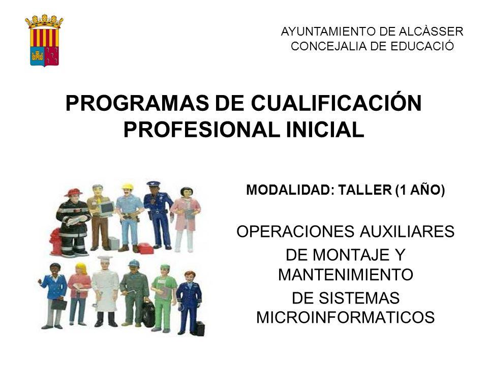 PROGRAMAS DE CUALIFICACIÓN PROFESIONAL INICIAL MODALIDAD: TALLER (1 AÑO) OPERACIONES AUXILIARES DE MONTAJE Y MANTENIMIENTO DE SISTEMAS MICROINFORMATIC