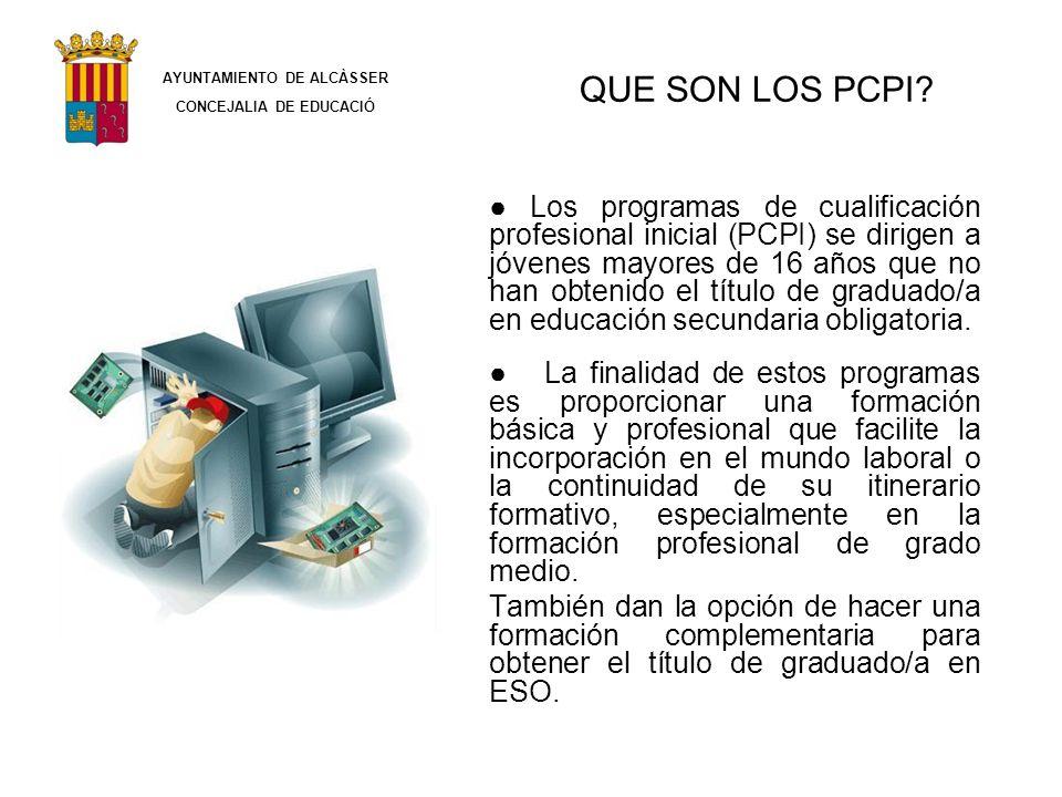 QUE SON LOS PCPI? Los programas de cualificación profesional inicial (PCPI) se dirigen a jóvenes mayores de 16 años que no han obtenido el título de g