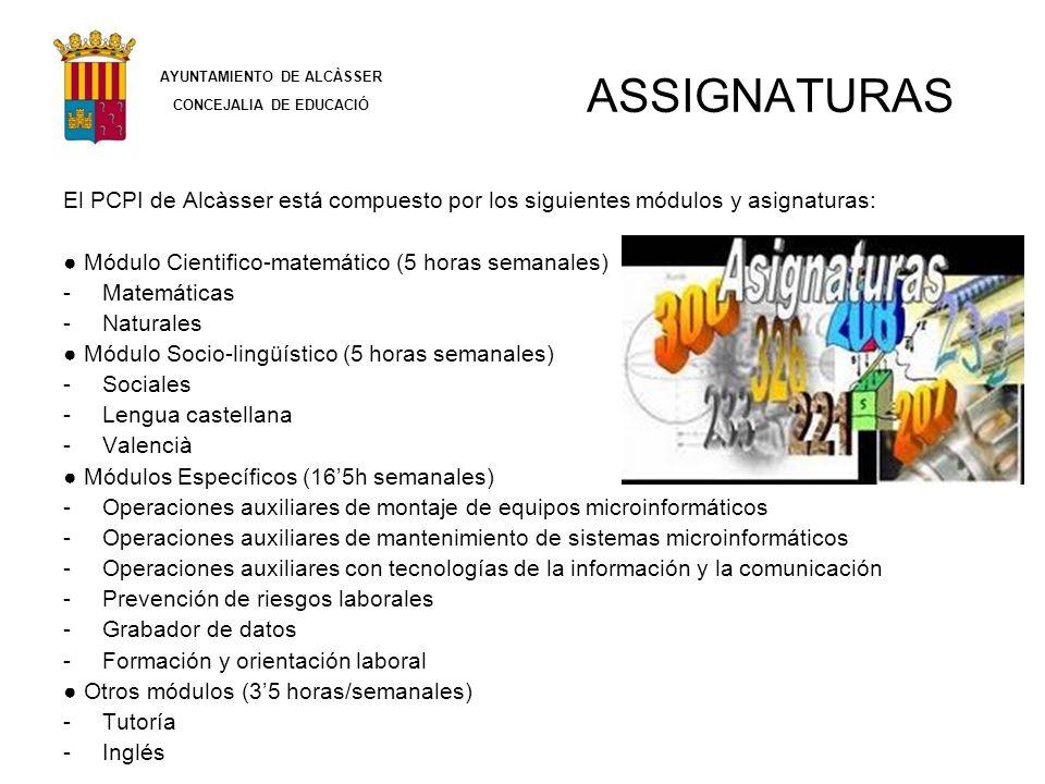 ASSIGNATURAS El PCPI de Alcàsser está compuesto por los siguientes módulos y asignaturas: Módulo Cientifico-matemático (5 horas semanales) -Matemática