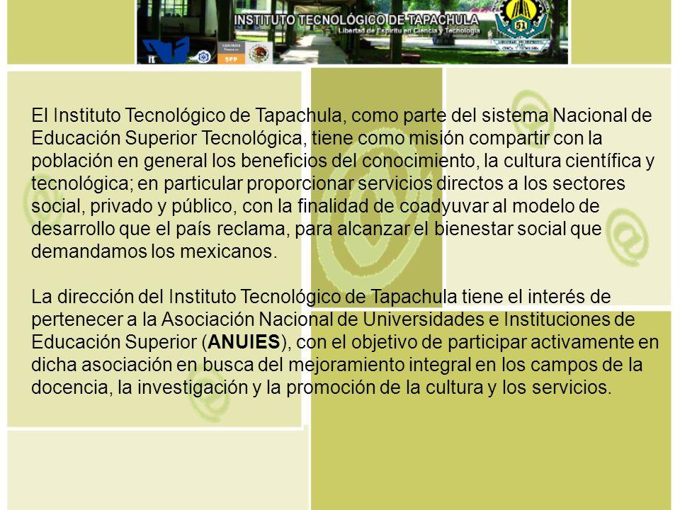 El Instituto Tecnológico de Tapachula, como parte del sistema Nacional de Educación Superior Tecnológica, tiene como misión compartir con la población