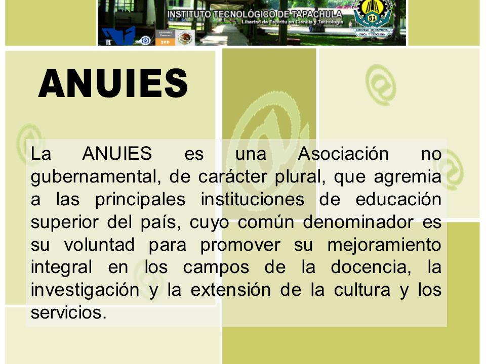 La ANUIES es una Asociación no gubernamental, de carácter plural, que agremia a las principales instituciones de educación superior del país, cuyo com