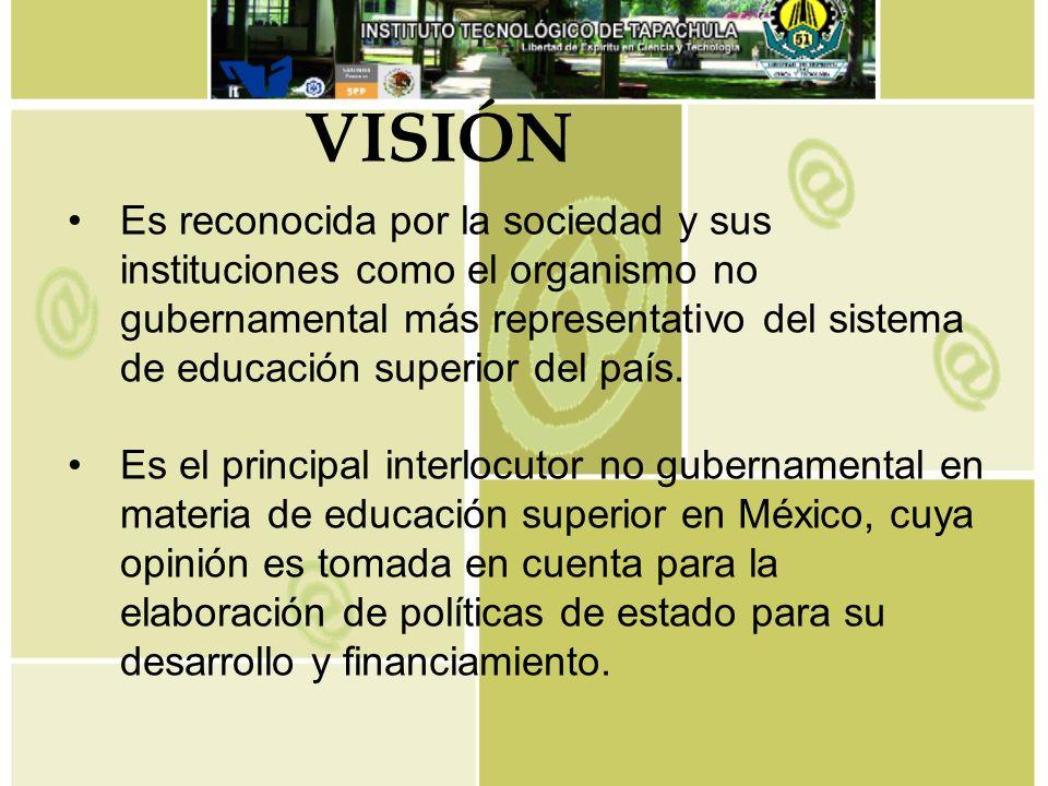 Es reconocida por la sociedad y sus instituciones como el organismo no gubernamental más representativo del sistema de educación superior del país. Es