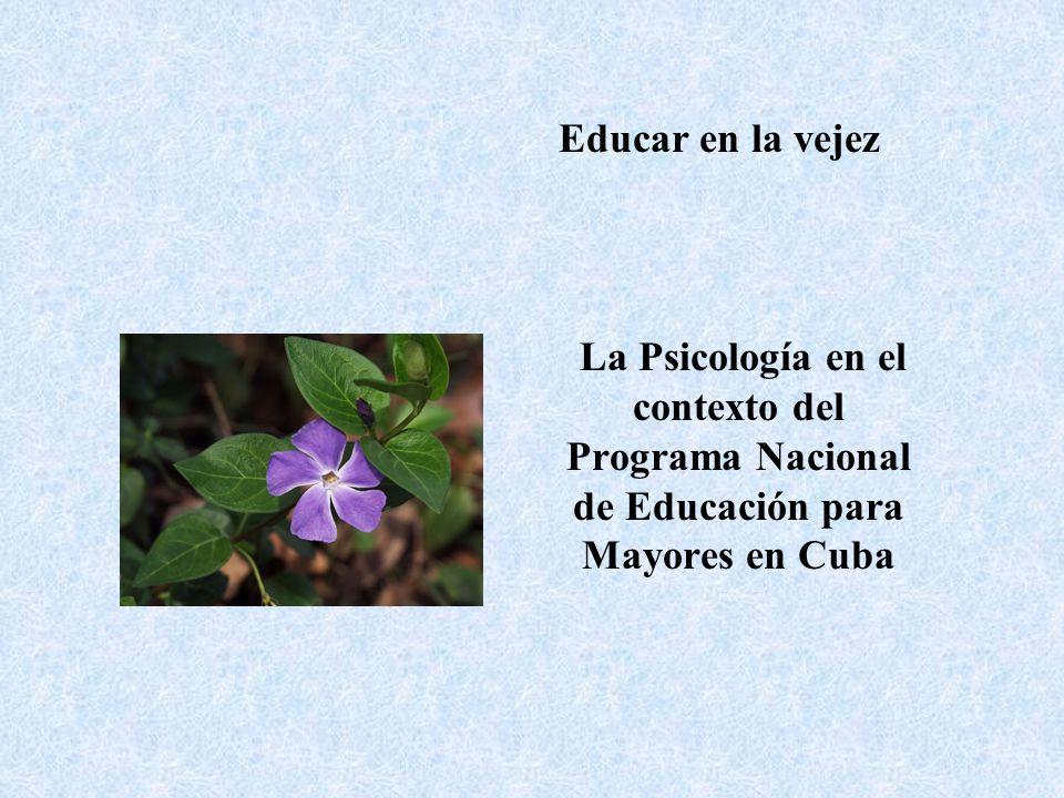 Datos Generales de la población cubana: -Cuba cuenta con 14 provincias y 169 municipios -15% de población mayor de 60 años -Tasa de fecundidad: 1,5 hijos por mujer -Expectativa de vida: 77 años 79 años mujeres 75 años hombres -21,5 años de esperanza de vida geriátrica -Educación primaria: 51 % Media y universitaria: 44% (Programa SABE)