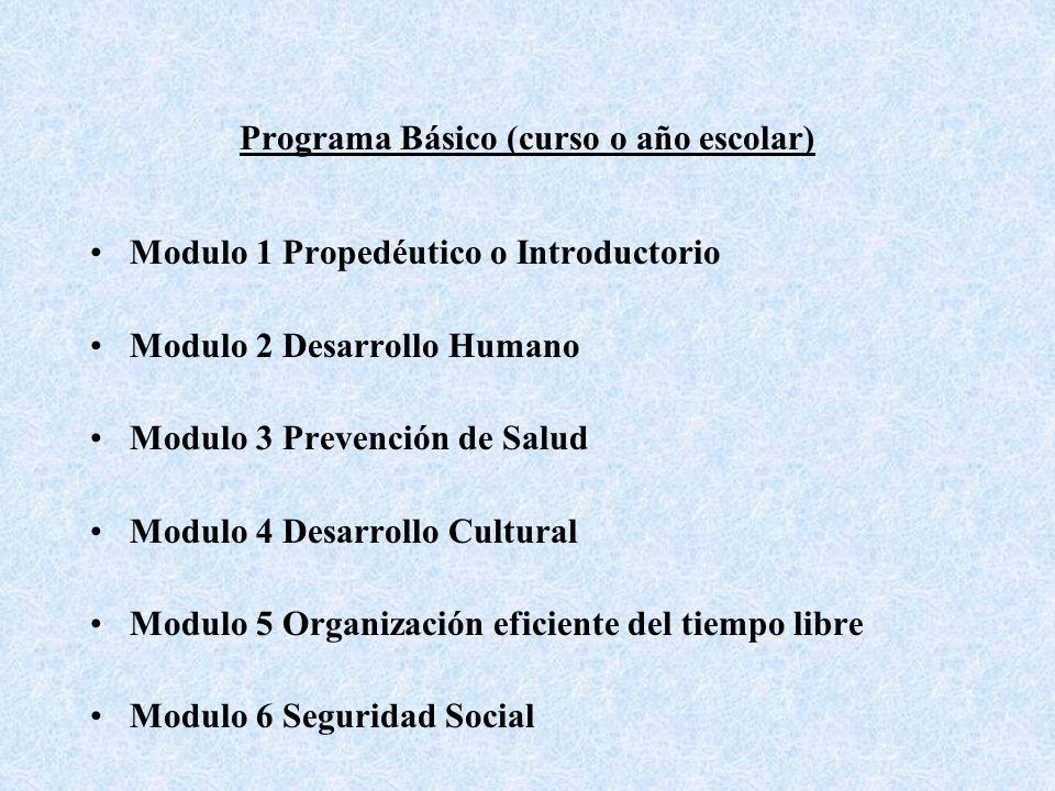 Programa Básico (curso o año escolar) Modulo 1 Propedéutico o Introductorio Modulo 2 Desarrollo Humano Modulo 3 Prevención de Salud Modulo 4 Desarrollo Cultural Modulo 5 Organización eficiente del tiempo libre Modulo 6 Seguridad Social