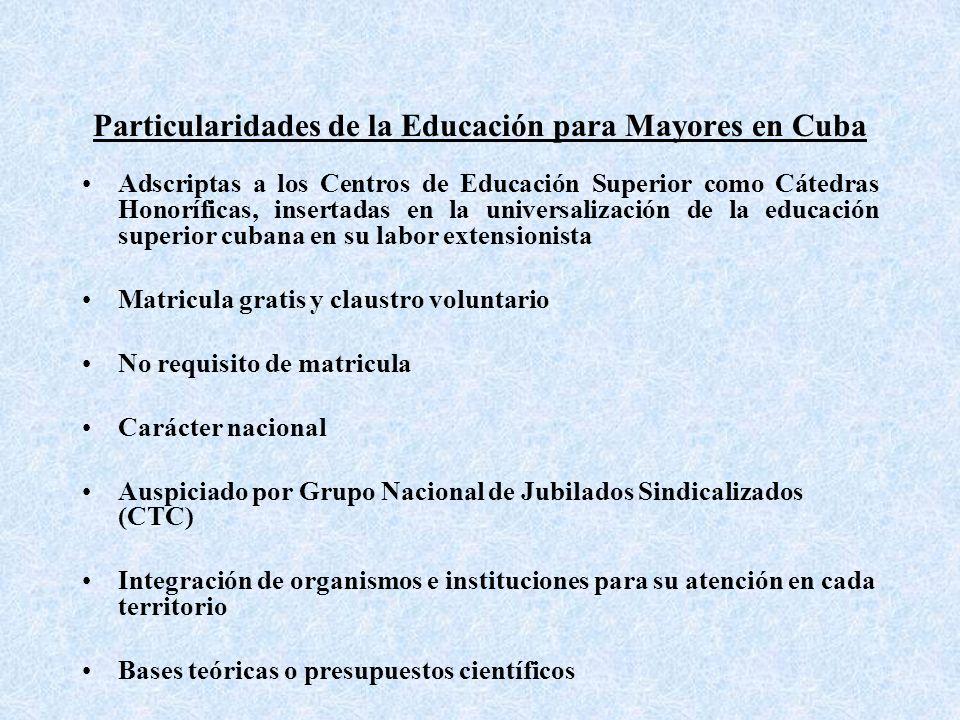 Particularidades de la Educación para Mayores en Cuba Adscriptas a los Centros de Educación Superior como Cátedras Honoríficas, insertadas en la universalización de la educación superior cubana en su labor extensionista Matricula gratis y claustro voluntario No requisito de matricula Carácter nacional Auspiciado por Grupo Nacional de Jubilados Sindicalizados (CTC) Integración de organismos e instituciones para su atención en cada territorio Bases teóricas o presupuestos científicos