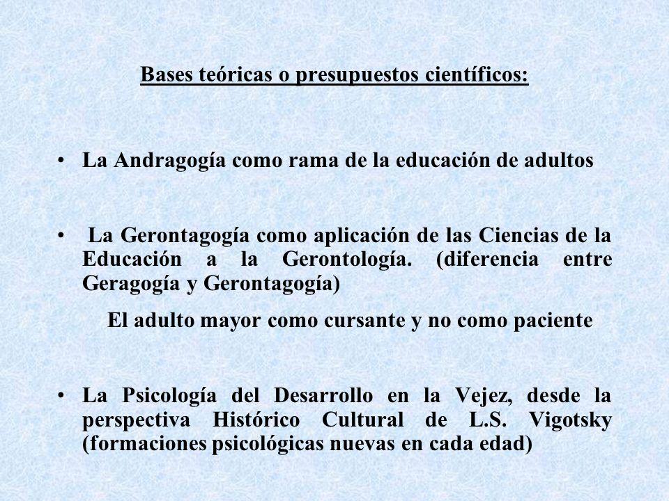 Bases teóricas o presupuestos científicos: La Andragogía como rama de la educación de adultos La Gerontagogía como aplicación de las Ciencias de la Educación a la Gerontología.