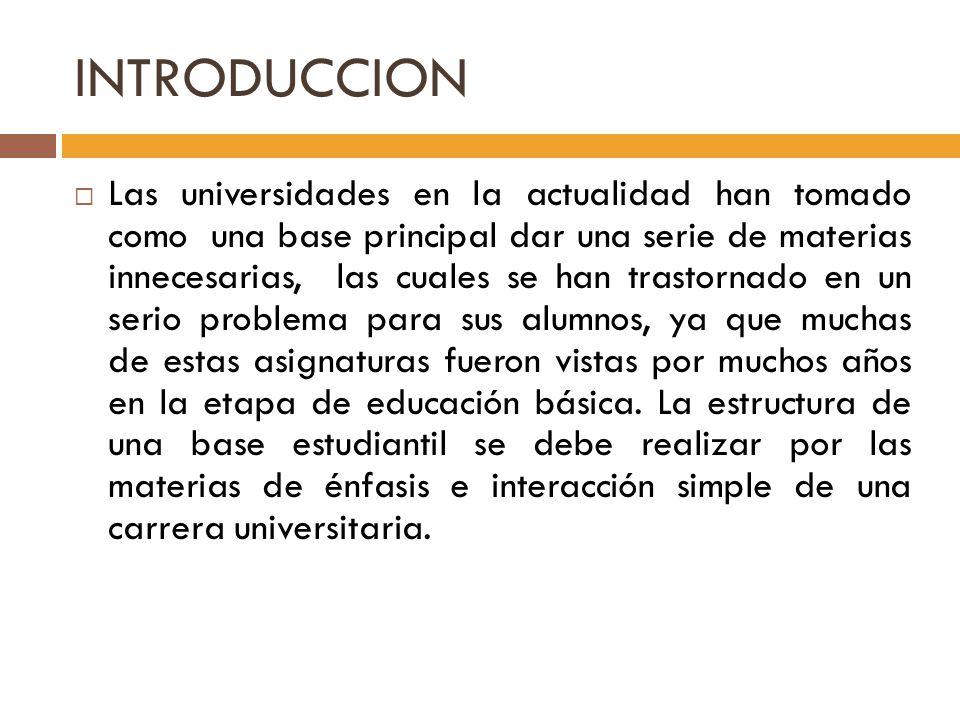INTRODUCCION Las universidades en la actualidad han tomado como una base principal dar una serie de materias innecesarias, las cuales se han trastorna