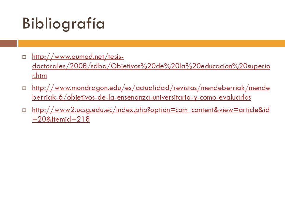 Bibliografía http://www.eumed.net/tesis- doctorales/2008/sdba/Objetivos%20de%20la%20educacion%20superio r.htm http://www.eumed.net/tesis- doctorales/2