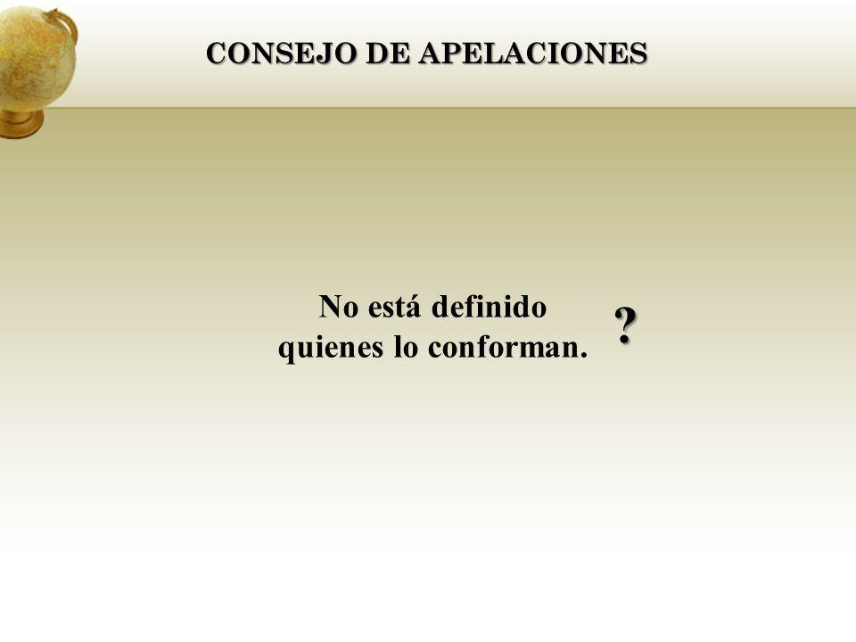 CONSEJO DE APELACIONES No está definido quienes lo conforman.