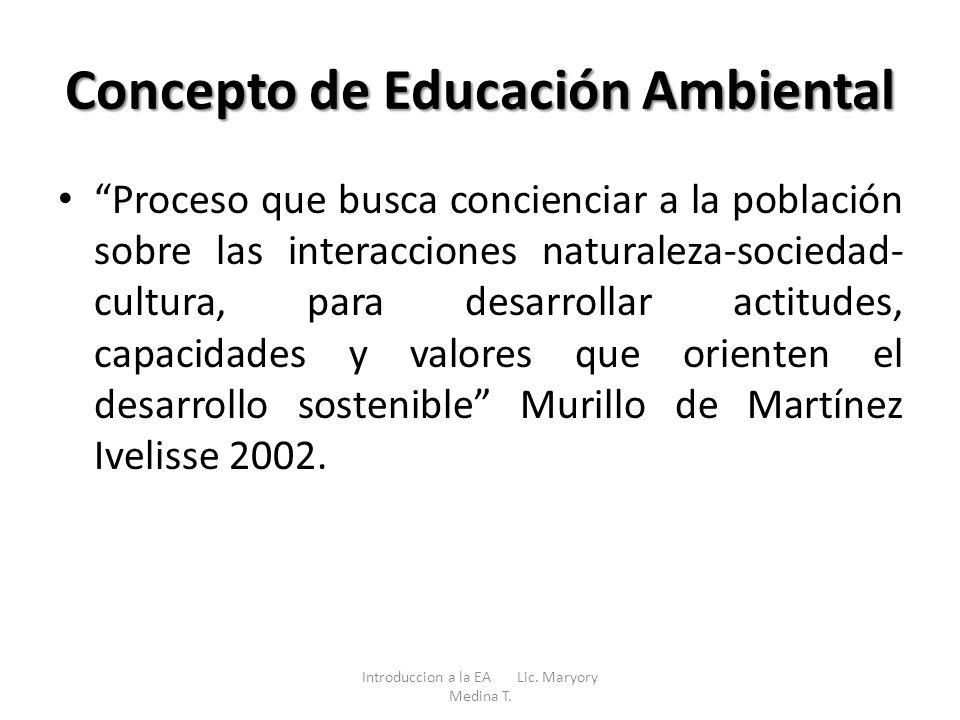 Concepto de Educación Ambiental Proceso que busca concienciar a la población sobre las interacciones naturaleza-sociedad- cultura, para desarrollar ac