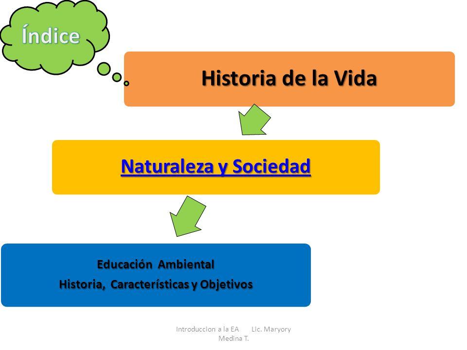 Historia de la Vida Naturaleza y Sociedad Naturaleza y Sociedad Educación Ambiental Historia, Características y Objetivos Introduccion a la EA Lic. Ma