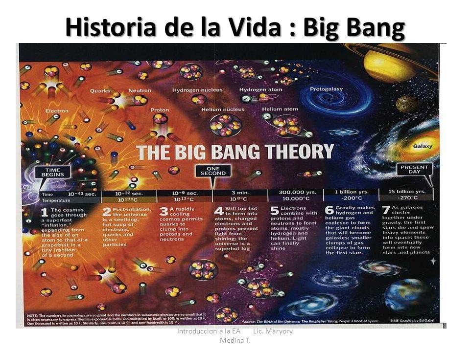 Historia de la Vida : Big Bang Introduccion a la EA Lic. Maryory Medina T.