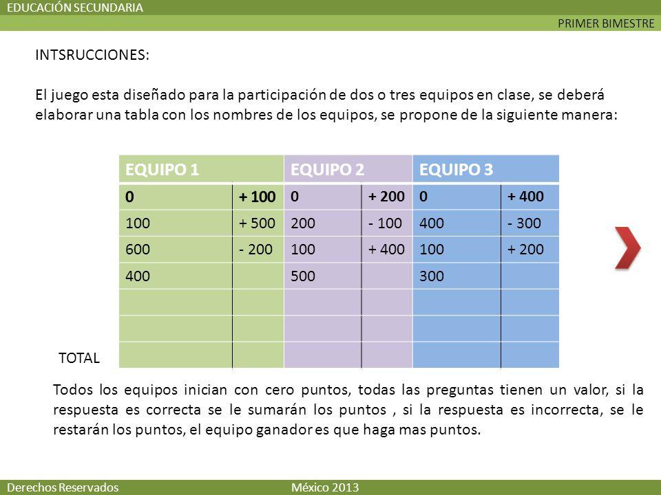 PRIMER BIMESTRE EDUCACIÓN SECUNDARIA Derechos Reservados México 2013 INTSRUCCIONES: El juego esta diseñado para la participación de dos o tres equipos en clase, se deberá elaborar una tabla con los nombres de los equipos, se propone de la siguiente manera: EQUIPO 1EQUIPO 2EQUIPO 3 0+ 2000+ 400 100+ 500200- 100400- 300 600- 200100+ 400100+ 200 400500300 TOTAL Todos los equipos inician con cero puntos, todas las preguntas tienen un valor, si la respuesta es correcta se le sumarán los puntos, si la respuesta es incorrecta, se le restarán los puntos, el equipo ganador es que haga mas puntos.