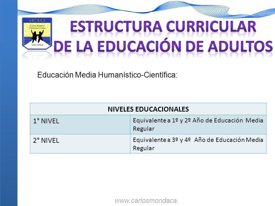 Educación Media Humanístico-Científica: NIVELES EDUCACIONALES 1° NIVEL Equivalente a 1º y 2º Año de Educación Media Regular 2° NIVEL Equivalente a 3º