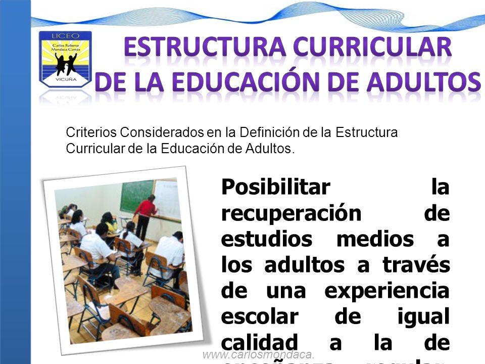 Criterios Considerados en la Definición de la Estructura Curricular de la Educación de Adultos. Posibilitar la recuperación de estudios medios a los a