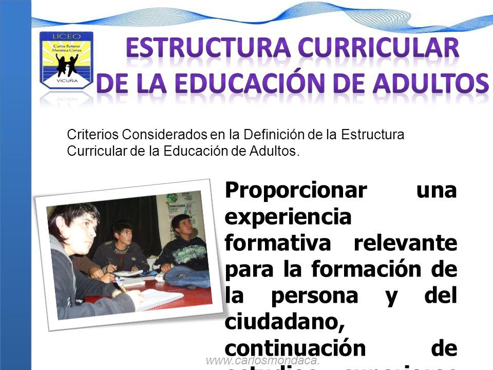Criterios Considerados en la Definición de la Estructura Curricular de la Educación de Adultos. Proporcionar una experiencia formativa relevante para