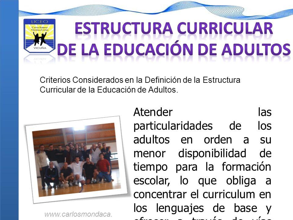 Criterios Considerados en la Definición de la Estructura Curricular de la Educación de Adultos. Atender las particularidades de los adultos en orden a