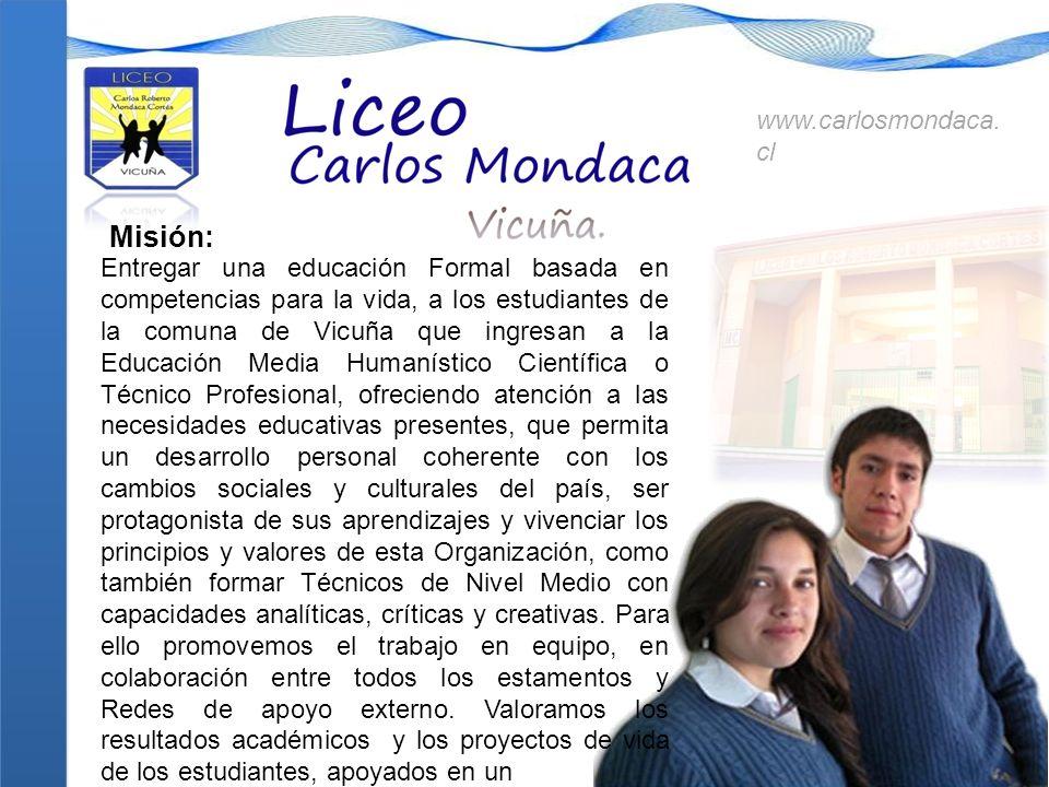 Misión: Entregar una educación Formal basada en competencias para la vida, a los estudiantes de la comuna de Vicuña que ingresan a la Educación Media