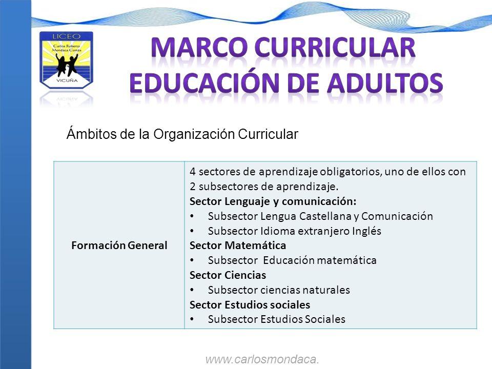 Formación General 4 sectores de aprendizaje obligatorios, uno de ellos con 2 subsectores de aprendizaje. Sector Lenguaje y comunicación: Subsector Len