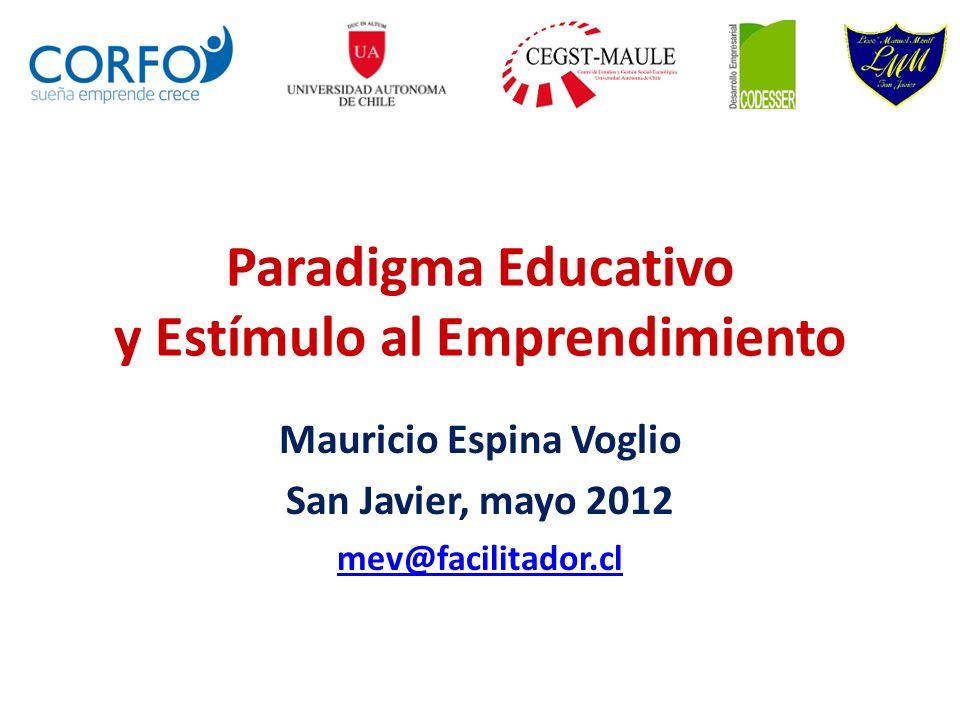 Paradigma Educativo y Estímulo al Emprendimiento Mauricio Espina Voglio San Javier, mayo 2012 mev@facilitador.cl